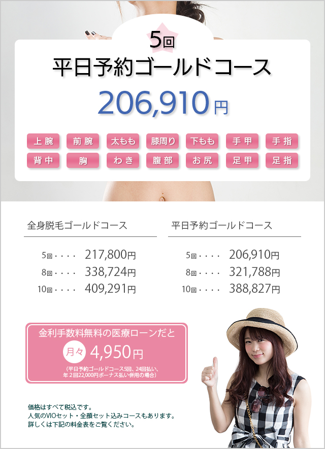 医療脱毛 平日予約ゴールド188,100円