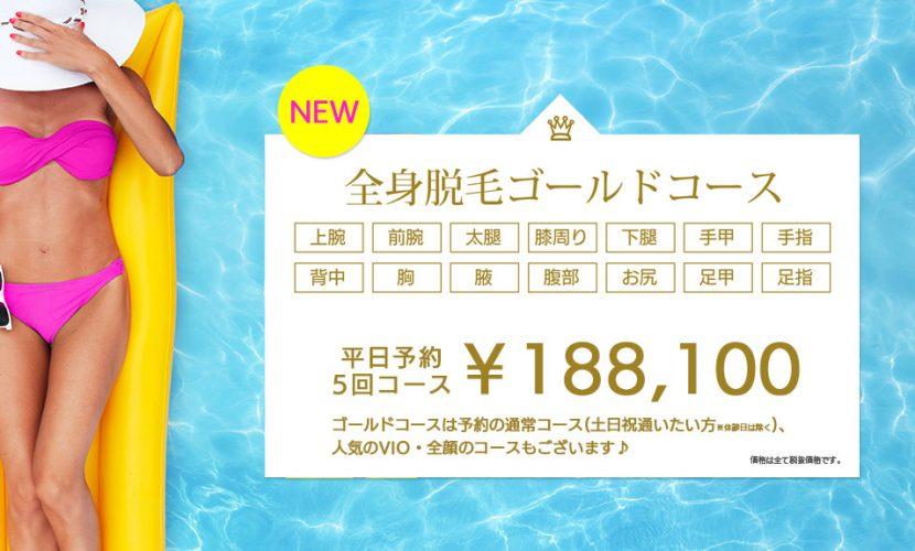全身脱毛ゴールドコース 平日予約¥188,100
